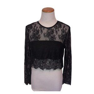Lovers + Friends Black Lace Crop Top with Tube Top